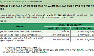 Vietcombank chính thức thu phí dịch vụ chuyển tiền