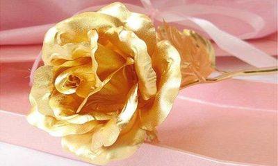 Quà tặng 8/3: Hoa hồng dát vàng lại