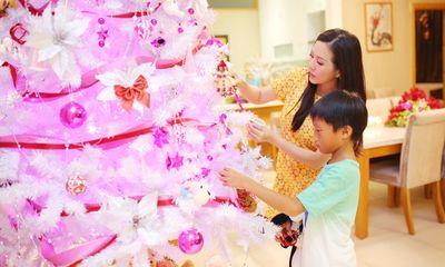 Hoa hậu Thu Hoài cùng con trai trang trí nhà cửa đón Noel 2014