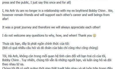 Hà Anh công bố chia tay đầu bếp Bobby Chinn