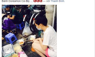 Diễm Hương vác bụng bầu 5 tháng nướng ngô, rán bánh vỉa hè