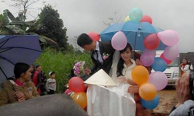Màn rước dâu độc lạ bằng xe bò của cặp đôi xứ Nghệ