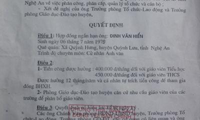 Nghệ An: Giáo viên hợp đồng huyện khốn đốn với mức lương do trường chi trả