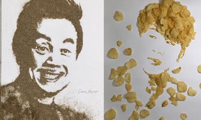 Nam sinh 10X Bắc Ninh vẽ tranh chân dung bằng những thứ