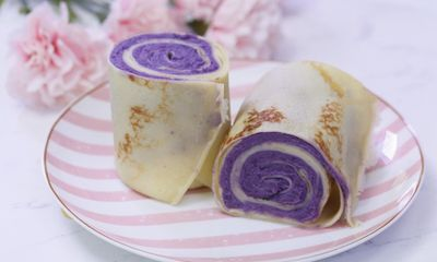 Bánh cuộn khoai lang tím cực đẹp mắt mà hương vị lại miễn chê