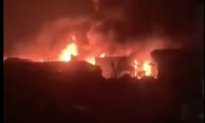 Hỏa hoạn tại xưởng cồn ở Hà Nội, ngọn lửa đỏ cháy rực trong đêm