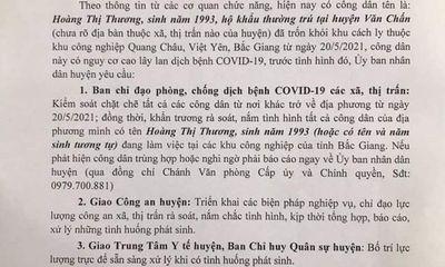 Truy tìm nữ công nhân trốn khỏi khu cách ly ở Bắc Giang