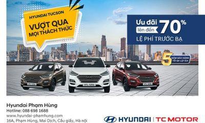 Ưu đã lên đến 70% lệ phí trước bạ với Hyundai Tucson.
