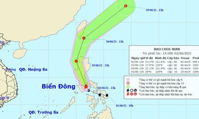 Xuất hiện bão Choiwan ở gần Biển Đông, sức gió giật cấp 10
