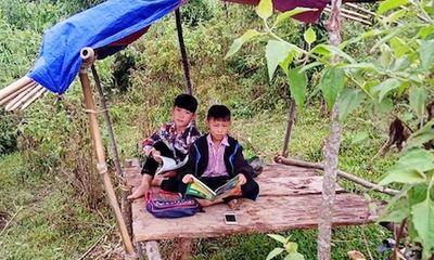 2 học sinh H'Mông dựng chòi trên núi hứng sóng để học trực tuyến
