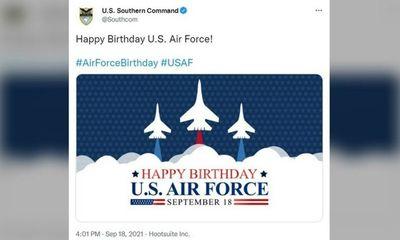 Ảnh mừng ngày thành lập Không quân Mỹ nhưng lại để hình tiêm kích Nga gây xôn xao