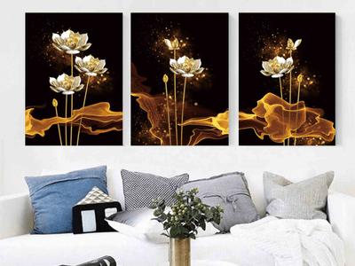 Những bức tranh hoa sen treo phòng khách đẹp và sang trọng