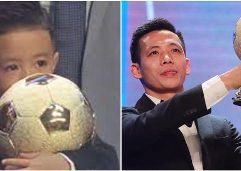 Bóng đá - Văn Quyết lần đầu đoạt Quả bóng vàng Việt Nam, con trai ôm chặt giải thưởng của bố