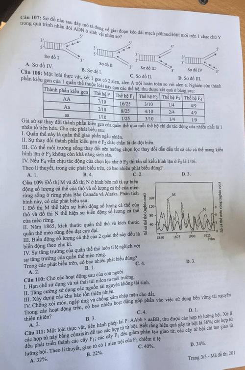 Đáp án môn KHTN Hóa học-Vật lí-Sinh học 24 mã đề tốt nghiệp THPT 2020 chuẩn nhất, chính xác nhất - Ảnh 4